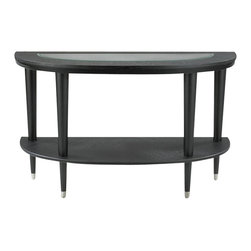 Klaussner - Ontario Sofa Table with Half-Round Shelf and Glass Top - Sophisticated styling distinguishes the Ontario occasional table collection. Thick layers of Wood are shaped in a symmetrical circle and an insert of Glass reveals modernistic tapered legs with a touch of brushed Nickel hardware. 50 in. L x 20 in. L x 30 in. H. This product is not California Air Resources Board (CARB). compliant and cannot be shipped to California.