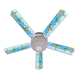 Ceiling Fan Designers - Ceiling Fan Designers Key West Indoor Ceiling Fan - 42FAN-IMA-KW - Shop for Ceiling Fans and Components from Hayneedle.com! With its bright colors and fun sailing theme the Ceiling Fan Designers Key West Indoor Ceiling Fan is a cute addition to any room. This ceiling fan and light kit combo has great illustrated style that will cool down and light up the room. It comes in your choice of size: 42-inch with 4 blades or 52-inch with 5. The blades are reversible so if you choose you can reverse the colorful design to simple white. That's a neat trick! It has a powerful yet quiet 120-volt 3-speed motor with easy switch for year-round comfort. The 42-inch fan includes a schoolhouse-style white glass shade and requires one 60-watt candelabra bulb (not included). The 52-inch fan has three alabaster glass shades and requires three 60-watt candelabra bulbs (included). Your ceiling fan includes a 15- to 30-year manufacturer's warranty (based on size).