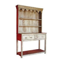 British Traditions - 2-Drawer & Open Shelf Country Sideboard w 2-Fixed Shelf Hutch (Thyme) - Finish: Thyme. Includes country hutch with sideboard. Scroll valance and dentil molding can be left off. 2 Drawers. 2 Fixed shelves for plate display. Large open shelf. Each finish is hand painted and actual finish color may differ from those show for this product. Minimal assembly required. Drawer size: 20.75 in. W x 17 in. D x 6.5 in. H. Top shelf size: 46 in. W x 7 in. D(all three), grooved for plates. Top: 11 in. H. Center and bottom: 11.5 in. H. 50.5 in. W x 19 in. D x 80 in. H (110 lbs.)Just 48 in. wide, the Yorkshire Dresser is beautifully proportioned with lovely dentil moulding and scalloped detail. The large, open under-shelf provides additional space particularly well suited to big, hard-to-display items like baskets, crocks, etc. Two deep drawers hold kitchen utensils at home - or extra stock in the store.