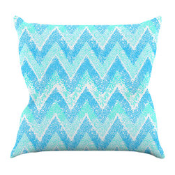 """Kess InHouse - Marianna Tankelevich """"Mint Snow Chevron"""" Blue Chevron Throw Pillow (16"""" x 16"""") - Rest among the art you love. Transform your hang out room into a hip gallery, that's also comfortable. With this pillow you can create an environment that reflects your unique style. It's amazing what a throw pillow can do to complete a room. (Kess InHouse is not responsible for pillow fighting that may occur as the result of creative stimulation)."""