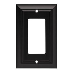 Liberty Hardware - Liberty Hardware 64216 Architectural WP Collection 3.15 Inch Switch Plate - Flat - A simple change can make a huge impact on the look and feel of any room. Change out your old wall plates and give any room a brand new feel. Experience the look of a quality Liberty Hardware wall plate.. Width - 3.15 Inch,Height - 4.9 Inch,Projection - 0.2 Inch,Finish - Flat Black,Weight - 0.23 Lbs