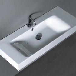 WS Bath Collections - 39.4 in. Bathroom Sink with Overflow - Includes mounting hardware. Wall hung or counter top installation. One faucet hole. Designer high end premium quality. ADA compliant. Designed by Marc Sadler. Warranty: One year. Made from ceramic. White color. Made in Italy. 39.4 in. W x 17.7 in. D x 3.9 in. H (65 lbs.). Spec SheetKerasan by WS Bath Collections, designers high-end ceramic washbasins and sanitary ware with the greatest imaginable versatility in application. Models that adhere to the more current trends of design, harmony and elegance.