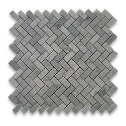 "Stone Center Online - Carrara White 5/8 x 1 1/4 Herringbone Mosaic Tile Polished - Marble from Italy - Premium Grade Carrara Marble Italian White Bianco Carrera Polished 5/8x1 1/4"" Herringbone Mosaic Wall & Floor Tiles are perfect for any interior/exterior projects such as kitchen backsplash, bathroom flooring, shower surround, countertop, dining room, entryway, corridor, balcony, spa, pool, fountain, etc. Our large selection of coordinating products is available and includes hexagon, brick, basketweave mosaics, field, subway tiles, moldings, borders, and more."
