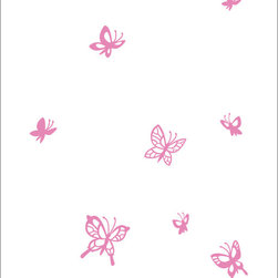 Cherry Walls - Butterflies Wall Decals - Get creative with fun color combinations! Pretty butterflies, ranging from three-to-eight inches, flutter across the wall, amusing your child while giving the nursery a fresh, new look. Combine two tones for a flurry of color.