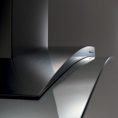 """Designer Range Hoods - """"Acqualina"""" Series - The Acqualina line of kitchen range hoods by Futuro Futuro combines graceful form with the enduring shine of stainless steel and tempered glass. Available in 42"""" and 36"""" island-mount versions, as well as 36"""" and 30"""" wall-mount versions. Visit www.FuturoFuturo.com for complete product information, multiple photos, specifications, pricing, and current stock status."""