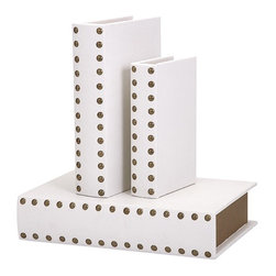 IMAX - Essentials Celebrations Book Boxes - Set of 3 - Created to tuck precious mementos safely out of sight, this set of book boxes from the Celebrations Collection by Connie Post is definitely meant to be seen. Leather-look boxes feature spines bejeweled with gold studs.