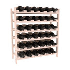 36 Bottle Stackable Wine Rack in Pine with White Wash Stain - A pair of discounted wine racks allow double wine storage at a low price. This rack accommodates all 750ml bottles, Pinots and Champagnes. The quintessential DIY wine rack kit. Your satisfaction is guaranteed.