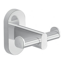 Gedy - Wall Mounted Chrome Double Bathroom Hook - Robe hook mounts to the wall with screws (included) and has two hooks.