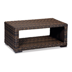 Thos. Baker - hampton coffee table (java) - New for 2013, our most popular oversized wicker collection is now available in a rich java color weave. Premium, dyed-through resin wicker with an extra large diameter profile and a rich varigated rustic finish. Powder-coated aluminum subframe and brushed aluminum feet.