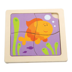 The Original Toy Company - The Original Toy Company Kids Children Play Fish 1st Puzzles - These classic four piece puzzles with colorful pieces set into a wooden tray that is imprinted with a puzzle for matching up.