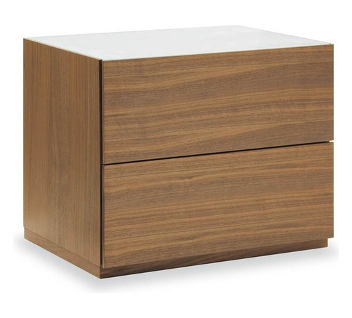 Calligaris - City Wooden 2-drawer Nightstand w Glass Top ( - Choose Glass Top: Frosted Black GlassPictured with Frosted Extra White Glass. Walnut finish. Wooden two-drawer nightstand features a glass top. Drawers feature matching interiors and a soft close mechanism. Assembly required. 24 in. W x 17.625 in. D x 19.625 in. H