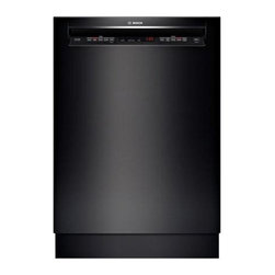 """Bosch 24"""" Recessed Handle 500 Series Dishwasher, Black   SHE65T56UC - Full Size Stainless Steel Tall Tub Installs Perfectly Flush 3rd Rack for Additional Loading Capacity 16 Place Setting Capacity LED Remaining Time Display RackMatic on Upper Rack - 3 Height Adjustments and Up to 9 Possible Rack Positions"""