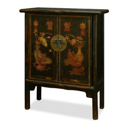 China Furniture and Arts - Elmwood Mandarin Cabinet - With understated elegance, this Elmwood cabinet features hand-painted flowers motif on its doors. A removable shelf behind the double door compartment your storage convenience. Handcrafted from Elmwood and masterfully hand-painted by Chinese artists from Northern China. It is a one-of-a-kind item and will last for generations to admire. Fully assembled.
