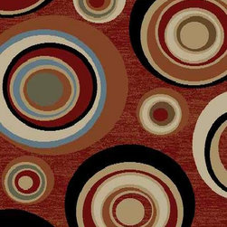 Ottomanson - Dark Red Contemporary Abstract Design Rug - Royal Collection offers a wide variety of machine made modern and oriental design area rugs with durable, stain-resistant pile in trendy colors.