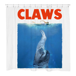 """Sharp Shirter - CLAWS Shower Curtain - """"This curtain is printed in USA!. Hooks sold separately. Disclaimer: If you order multiple items, they may ship from separate locations."""""""