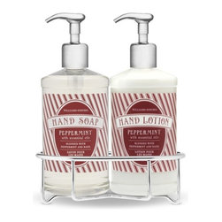 Essential Oils Collection, Peppermint Deluxe Gift Set with Wire Caddy - These are the perfect touch for your powder room! There is nothing more refreshing than peppermint soap and hand lotion. I love everything about this set.