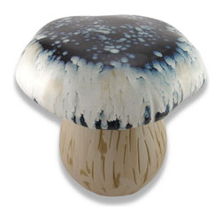 Zeckos - Blue and White Ceramic Mushroom Garden Stool/Plant Stand - This ceramic mushroom is a great accent on your porch or patio, in your garden or in your home. It measures 15 inches tall, has a 15 inch diameter top and a 9 inch diameter base. This piece also has foam pads on the bottom that prevent it from scratching delicate surfaces inside your home or office. The stool has a glazed dark blue and white top that is complemented by the natural, textured stem base. This unique decor item can be used as a garden stool or plant stand, indoors or outdoors, and makes a great gift for friends and family.