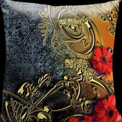 Lama Kasso - Como Gardens Black/Blue Through to Orange with Gold Scrolls and Red Daisies 18 x - -Satin Lama Kasso - 116