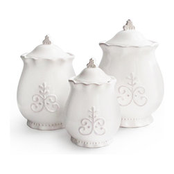 American Atelier - American Atelier Bianca Fleur 3-piece Canister Set - Add both functionality and style to your kitchen with this set of canister from American Atelier. Ideal for storing any dry food and goods,this artistic canister set is made of earthenware and will complete your kitchen.