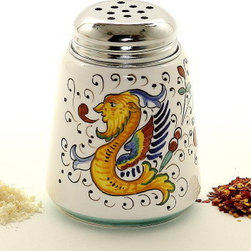 Artistica - Hand Made in Italy - Raffaellesco: Cheese/Spice Shaker with Stainless Steel Top - Raffaellesco Collection: Among the most popular and enduring Italian majolica patterns, the classic Raffaellesco traces its origin to 16th century, and the graceful arabesques of Raphael's famous frescoes.