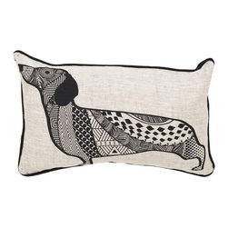 Buddy Lumbar Pillow, Black and Oatmeal - In bright and happy prints, these pillows bring a sense of whimsy. Throw them onto any sofa or bed for instant style