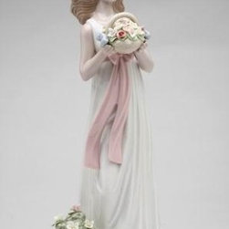 CG - Spring Moment Lady in Long White Dress with Flower Basket Figurine - This gorgeous Spring Moment Lady in Long White Dress with Flower Basket Figurine has the finest details and highest quality you will find anywhere! Spring Moment Lady in Long White Dress with Flower Basket Figurine is truly remarkable.