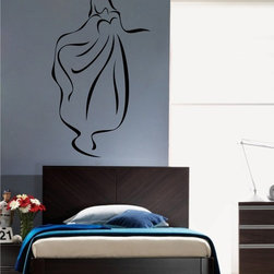 StickONmania - Woman in Long Dress Contour Sticker - A cool vinyl decal wall art decoration for your home  Decorate your home with original vinyl decals made to order in our shop located in the USA. We only use the best equipment and materials to guarantee the everlasting quality of each vinyl sticker. Our original wall art design stickers are easy to apply on most flat surfaces, including slightly textured walls, windows, mirrors, or any smooth surface. Some wall decals may come in multiple pieces due to the size of the design, different sizes of most of our vinyl stickers are available, please message us for a quote. Interior wall decor stickers come with a MATTE finish that is easier to remove from painted surfaces but Exterior stickers for cars,  bathrooms and refrigerators come with a stickier GLOSSY finish that can also be used for exterior purposes. We DO NOT recommend using glossy finish stickers on walls. All of our Vinyl wall decals are removable but not re-positionable, simply peel and stick, no glue or chemicals needed. Our decals always come with instructions and if you order from Houzz we will always add a small thank you gift.