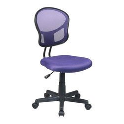 Office Star - Mesh Task Chair w Purple Fabric - One touch Pneumatic seat height adjustment 360 Swivel. Heavy duty Nylon base with dual wheel carpet casters. Pictured in Purple. Seat: 18 in. W x 17.25 in. D x 2 in. T. Back: 15.75 in. W x 16.25 in. H. Seat Travel: 4.5. Overall: 18 in. W x 22.5 in. D x 39.25 in. H (20 lbs.)