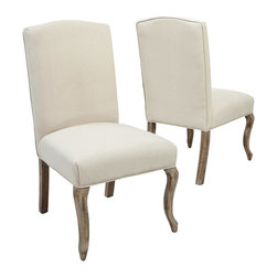 Great Deal Furniture - Zaira French Fabric Dining Chairs (Set of 2), Ivory Fabric - The Zaira Dining Chairs combine a classic French-style with a bold look that will complement any dining room decor. The high back and rounded curves command attention when paired with the neutral ivory color fabric. These chairs are well-padded on the back and seat for additional comfort without compromising their traditional feel. Adorn your dining space with these chairs or use them as accent chairs for your living room, bedroom or office.