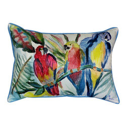 Betsy Drake - Betsy Drake Parrot Family Pillow- Indoor/Outdoor - Parrot Family Pillow- Large indoor/outdoor pillow. These versatile pillows are equal at enhancing your homes seaside decor and adding coastal charm to an outdoor setting arrangment. They feature printed outdoor, fade resistant fabric for years of wear and enjoyment. Solid back, polyfill. Proudly made in the USA.