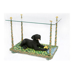 ecofirstart - Dog Days of Summer Table - This fetching piece is sure to delight everyone who comes into your home. The work of sustainability minded artist Mary Hatfield, it utilizes hundreds of smalti mosaic tiles to create the bucolic setting for the lovable black lab.