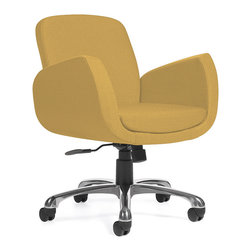Global Industries - Uphostered Office Chair - You spend so much time at your desk; why not make sure you're comfortable and happy? The mustard yellow, upholstered swivel desk chair has a pneumatic seat adjustment and swivels and tilts, moving with your body to promote ergonomic success.