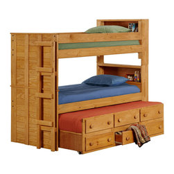 Chelsea Home Furniture - Chelsea Home Twin Bookcase Bunk Bed with Twin Trundle Unit in Ginger Stain - Providing home elegance in upholstery products such as recliners, stationary upholstery, leather, and accent furniture including chairs, chaises, and benches is the most important part of Chelsea Home Furniture's operations. Bringing high quality, classic and traditional designs that remain fresh for generations to customers' homes is no burden, but a love for hospitality and home beauty. The majority of Chelsea Home Furniture's products are made in the USA, while all are sought after throughout the industry and will remain a staple in home furnishings.