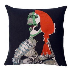 Decorative Pillow, Picasso- Matador (1970) - This French tapestry pillow from Jules Pansu, features this famous Cubist Picasso work portraying a matador in all his finery, seated in a classical pose. This oil on canvas painting was done in 1970. Jules Pansu knows how to use different techniques to recreate the strokes of a brush in this nearly identical reprodution. Jules Pansu knows how to use different techniques to recreate the strokes of a brush in this nearly identical reproduction. The Jules Pansu company is the only weaver allowed to create a collection from the paintings of Pablo Picasso with approval from the Picasso Administration. The works were reproduced without modification, in strict compliance with the original colors and in full, perfectly faithful to Picasso's paintings with the agreement of the Picasso Estate.