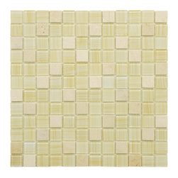 Somertile - SomerTile 11.5x11.5-inch Chroma Square Macadamia Glass and Stone Mosaic Tiles (S - Update your indoor or outdoor d_cor with this easy-to-install contemporary tan glass and stone mosaic tile. Each 10-piece set includes a variety of smooth glass and natural stone mosaic tiles with glossy and frosted finishes for a beautiful effect.