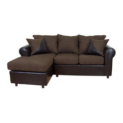 Chelsea Home - Tim 2-Pc Sectional Sofa in Bulldozer Java Fab - Includes toss pillows. Seating comfort: Medium. Hardwood frame and engineered wood products. No seat cushion is attached. No seat back cushion is attached. Seat cushion is not reversible. No sag sinuous spring system used to maintain a uniform seating area. Dacron wrapped 1.5 density foam cushions. Made from polyester, PVC blend and hardwood. Bicast chocolate and bulldozer java color. Made in USA. No assembly required. 60 in. L x 37 in. W x 37 in. H (220 lbs.)
