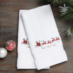 None - Embroidered Santa on the Go Holiday Turkish Cotton Hand Towels (Set of 2) - Authentic plush hotel and spa hand towels are made from high end Turkish cotton and embroidered with a Santa and reindeer design. These Turkish cotton hand towels are made for luxury hotels and spas and become softer and more absorbent with every wash.
