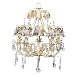 Ballroom Bright Idea Chandelier - Bold, but elegant. This antique ivory 5-arm chandelier features a pear-shaped base lined in leaves. Simple raindrop crystals add a touch of class and femininity to a chandelier that is perfect for a small dining room or bathroom. This chandelier is dressed with ivory shades with pink tulle flowers and threaded embroidery in green.