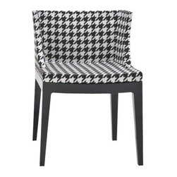 Kartell - Mademoiselle Chair Houndstooth by Kartell - An immediately recognizable tessellation, the pattern on the Kartell Mademoiselle Chair Houndstooth speaks of its origins in upper class Scottish society and its appearance in couture fashion in the late 1800s. The modern two-toned rendition is part of designer Philippe Starck's Mademoiselle collection. Founded in 1949 by Giulio and Anna Castelli, Kartell has become the world leader—and innovator—in the realm of molded plastic furniture. Headquartered in Italy, Kartell works with designers worldwide to create their distinctive line of modern furniture, lighting and accessories. Dedication to discovering and employing new technologies and manufacturing methods results in a growing line of durable, stylish and cutting edge products.