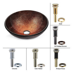 Kraus - Kraus Copper Illusion Glass Vessel Sink with PU-MR Satin Nickel - *This elegant glass vessel sink is unique in both design and texture