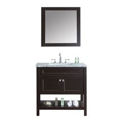 "Ariel - Mayfield 36"" Espresso Single-Sink Bathroom Vanity Set - Inspired by traditional Hampton-style beach cottages, this vanity from our Mayfield collection combines an Espresso finish with a carrera marble countertop and decorative crystal knob hardware for a crisp, clean feel that goes well with any bathroom design. Two doors with soft-closing hinges White carrera marble countertop (1"" edge) w/matching backsplash design. All marble tops are finished by hand, pre-drilled for all 8"" widespread faucets, and double-sealed for scratch-resistance and long-term durability cUPC-certified rectangular undermount sink Color: Espresso Matching wood-framed 27.6""W x 32.3""H mirror included Vanity Dimensions: 36""L x 22""W x 34.6""H"