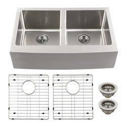 Schon - Schon SCAP505016 Luxury 16 Gauge 50/50 Double Bowl Apron Front Kitchen Sink, Sta - Schon SCAP505016 Luxury 16 Gauge 50/50 Double Bowl Apron Front Kitchen Sink, Stainless Steel Constructed of luxurious 16 gauge commercial grade stainless steel, these sinks are tough enough for commercial applications yet beautiful enough to grace the most distinctive private residence. From innovative radius corner bowls to hand-built apron front farmhouse basins, Schon has a distinctive solution to accommodate your needs. Practical. Beautiful. Smart. Schon is Simply Modern. Schon SCAP505016 Luxury 16 Gauge 50/50 Double Bowl Apron Front Kitchen Sink, Stainless Steel Features: This beautiful double-bowl apron front sink will be the centerpiece of your kitchen or utility room Constructed of luxurious 16 gauge commercial grade stainless steel Soft satin brushed finish looks amazing under any solid surface countertop Sound dampened with premium sound proof coating & rubber pad Triple reinfo