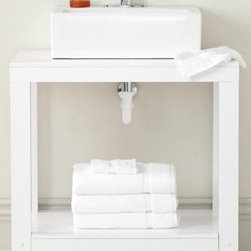 Parsons Single Vanity - I love this contemporary, open vanity. It'd be perfect for a small bathroom.