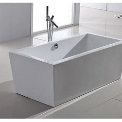 """Aquatica - Aquatica PureScape 026 Freestanding Acrylic Bathtub - White Multiple Sizes - If the Purescape 026 freestanding bathtub brings to mind the shape of an upturned bar of gold, the connotation is not without merit; this clean-lined beauty features a shape and style praised by those with an eye for treasure. Gently sloping outward from its base, the bathtub offers the modernity of straight lines paired with the coziness of softly rounded edges. Its striking visual appeal adds a mesmerizing modern elegance to any bathroom.FEATURES:Striking upscale modern designFreestanding constructionSolid, one-piece construction for safety and durabilityExtra deep, full-body soakErgonomic design forms to the body's shape for ultimate comfortQuick and easy installationConstructed of 8mm thick 100% heavy gauge sanitary grade precision acrylicPremium acrylic and tub thickness provides for excellent heat retentionHigh gloss white surfaceColor is consistent throughout its thickness - not painted onColor will not fade or lose its brilliance overtimePreinstalled cable drive pop up and waste-overflow fitting includedDesigned for one or two person bathingNon-porous surface for easy cleaning and sanitizingBuilt-in metal base frame and adjustable height metal legsChrome plated drainAvailable in several sizes to fit your space5 Year Limited WarrantyTested and found compliant with CSA B45 and ANSI Z124 (American National Standards Institute), Code compliant with American standard 1.5"""" waste outletsSpecificationsPurescape 026A Dimensions: 63 in. L X 31.5 in. W X 23.5 in. HPurescape 026B Dimensions: 67 in. L X 32 in. W X 23.5 in. HPurescape 026C Dimensions: 70.75 in. L X 33.5 in. W X 22.75 in. HShape: RectangleDrain Placement: CenterSpec Sheet 63"""" BathtubSpec Sheet 67"""" BathtubSpec Sheet 70.75"""" BathtubNote: This model usually ships in 1-2 days. Please allow an additional 2-3 business days for order transmittal and verification."""