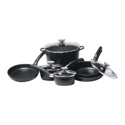 Berndes - SignoCast 10 Pc Non-Stick Cast Aluminum Cookw - Set includes:. 9.5 in. Dia.  and 11 in. dia. skillets. 2.5 qt. saute pan with glass lid. 1.25 qt. and 2 qt. sauce pans with glass lids. 10 qt. stock pot with glass lid. European styling and design. Ergonomically designed Phenolic handles. Tempered glass lids with Stainless Steel rim, knob and finger guard (glass 4 mm thick). Heats evenly and quickly. Commercial grade non-stick coating. Oven safe to 375 degrees. Easy clean up. Vacuum cast aluminum body is energy efficient, will not warp