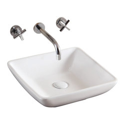 Caracalla - Square White Ceramic Vessel Bathroom Sink, No Hole - Contemporary style, square white ceramic vessel bathroom sink with no hole. Classy above counter washbasin comes without overflow. Made in Italy by Caracalla.