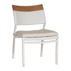 Frontgate - Dolphin Dining Outdoor Side Chair with Cushion, Patio Furniture - Crafted with a distinctive mix of materials and nautical details. Seat and seat back are woven in N-dura ™ white resin wicker, woven in a fine herringbone pattern. All-weather extruded aluminum frame. Teak crest rail detail. Premium, high-density foam seat cushion is included. The Dolphin Dining Side Chair by Summer Classics&reg is designed in the spirit of nautical adventures, all white, with rounded, billowing edges and teak details. Seat and seat back are woven in N-dura white resin wicker, woven in a fine herringbone pattern. Frame is crafted from all-weather extruded aluminum. Included seat cushion covered in high-performing, solution-dyed fabric. Part of the Dolphin Collection by Summer Classics&reg.  . Seat and seat back are woven in N-dura white resin wicker, woven in a fine herringbone pattern .  .  .  . 100% solution-dyed acrylic fabric . Note: Due to the custom-made nature of the cushions, any fabric changes or cancellations made to the Dolphin Collection by Summer Classics&reg must be made within 24 hours of ordering.