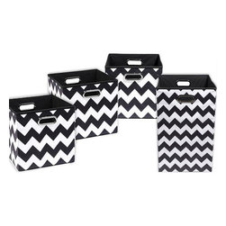 Bold Chevron Organization Bundle- 3 Storage Bins, 1 Laundry Hamper - Treat yourself to some sanity with these clutter busters. Get organized and get your kids organized too with these fun, decorative storage bins. The lightweight, matching laundry hamper makes toting dirty clothes a breeze.