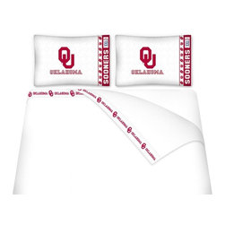 Sports Coverage - Sports Coverage NCAA Oklahoma Sooners Microfiber Hem Sheet Set - Twin - NCAA Oklahoma Sooners Microfiber Hem Sheet Set have an ultrafine peach weave that is softer and more comfortable than cotton. Its brushed silk-like embrace provides good insulation and warmth, yet is breathable.   The 100% polyester microfiber is wrinkle-resistant, washes beautifully, and dries quickly with never any shrinkage. The pillowcase has a white on white print beneath the officially licensed team name and logo printed in vibrant team colors, complimenting the new printed hems.    Features: -  Weight of fabric - 92GSM ,  - Soothing texture and 11 pocket,  -  100% Polyester,  - Machine wash in cold water with light colors,  - Use gentle cycle and no bleach ,  - Tumble-dry,  - Do not iron ,