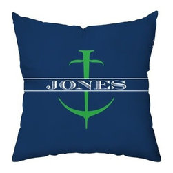 Anchor Throw Pillow - The Anchor Throw Pillow is a stylish and personalized gift idea for the newlyweds or any sailing family. It has a clean, contemporary anchor design in bold navy blue, green, and white. It's made with a polyester cover filled with a cotton and polyester blend. A smart, coordinating design on the back makes it reversible.